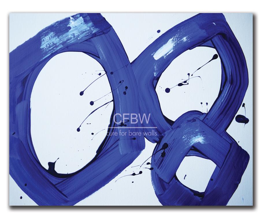 Oversized blue white modern art print